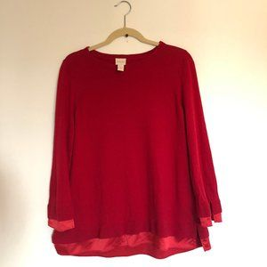Chico's | Red Sweater with Satin Detail